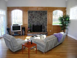 After: Re-arranged furniture to make area more intimate and interesting, emphasazing both the fireplace and the great view